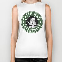 dalek Biker Tanks featuring Dalek Caffeinate by ThePhantomMoon