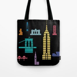 New York Skyline Black Tote Bag