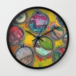 Colorful Life in mixed media pomegranates 7/7 Wall Clock