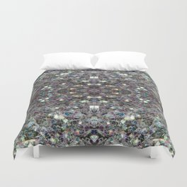 Sparkly colourful silver mosaic mandala Duvet Cover