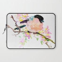 cute bird art, Bullfinch and Spring Laptop Sleeve