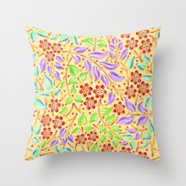 Sunshine Filigree Floral Throw Pillow