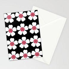 Japanese Sakura Floral Pattern - Black Stationery Cards