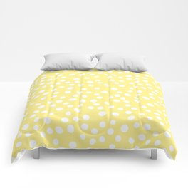 Pastel yellow and white doodle dots Comforters