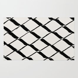 Modern Diamond Lattice Black on Light Gray Rug