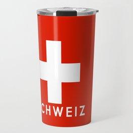 Switzerland country flag Schweiz name text Travel Mug