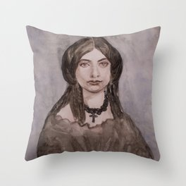 Watercolor Portrait of a Victorian Woman Wearing a Cross Necklace Throw Pillow