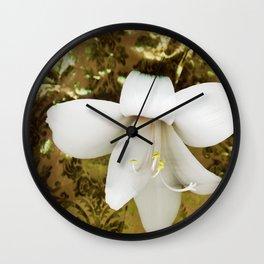 Innocent in golden green Wall Clock