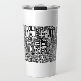 Typographic Nebraska Travel Mug