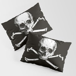 Skull and Crossbones | Jolly Roger | Pirate Flag | Black and White | Pillow Sham