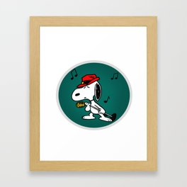 snoopy singing colorful Framed Art Print