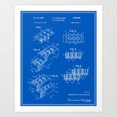 Lego Building Brick Patent - Blueprint Art Print