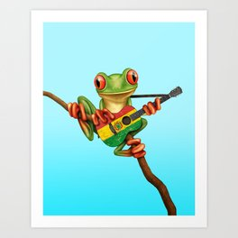 Tree Frog Playing Acoustic Guitar with Flag of Bolivia Art Print