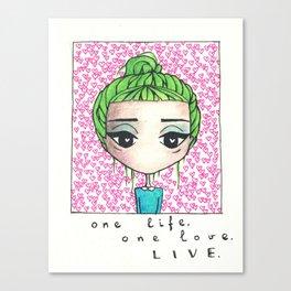 Green hair Canvas Print