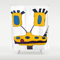 yellow submarine Shower Curtains featuring yellow submarine giraffe by JBLITTLEMONSTERS