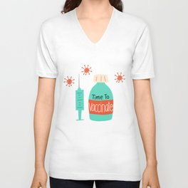 Time To Vaccinate Pattern Unisex V-Neck