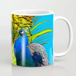 BLUE-GREEN PEACOCKS & LIME FEATHERS ART Coffee Mug