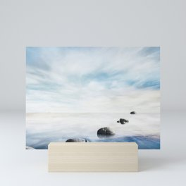 zen concept with beautiful sea level with fantasy sky and stone Mini Art Print