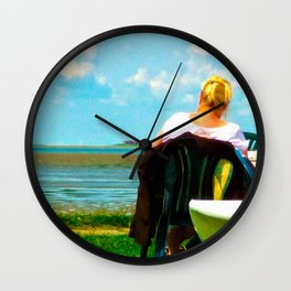 Mary looks out over the see Wall Clock
