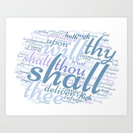 Christian Psalm 91 Word Art Art Print