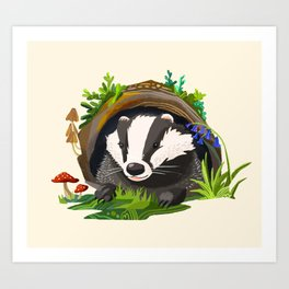 Badger and Bluebells Art Print