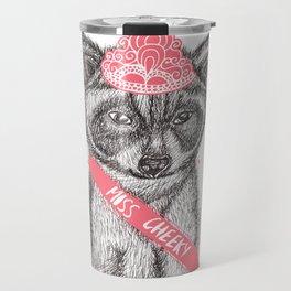 Funny girly raccoon illustration pink tiara Travel Mug