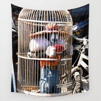 cage Wall Tapestries featuring Sylvester in a cage by Oliver Marder