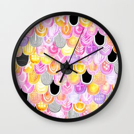 Citrus, Cotton Candy & Licorice Watercolor Scales Wall Clock