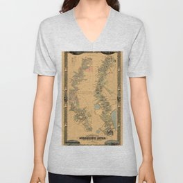 Map of Mississippi River 1858 Unisex V-Neck