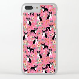 Boston Terrier florals dog breed pattern must have pupper gifts dog lovers Clear iPhone Case