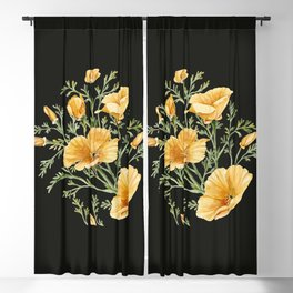 California Poppies on Charcoal Black Blackout Curtain