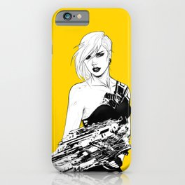 Badass girl with gun in comic pop art style iPhone Case