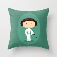 leia Throw Pillows featuring Leia by Sombras Blancas Art & Design