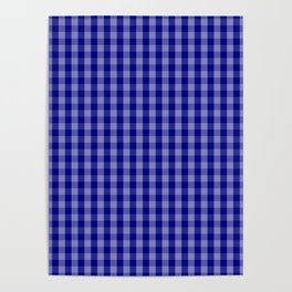 Navy Blue Gingham Check Plaid Pattern Poster