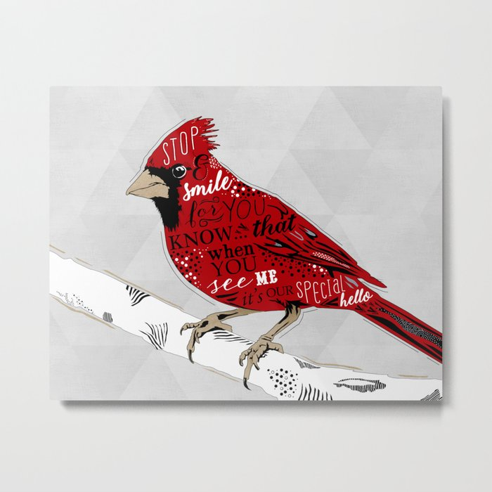 Cardinal Bird Lost Loved One Visiting Metal Print