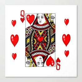 QUEEN  OF HEARTS SUIT CASINO PLAYING FACE CARD Canvas Print