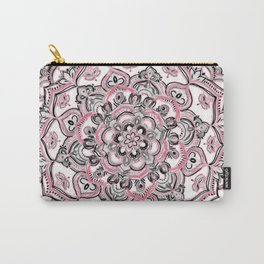 Magical Mandala in Monochrome + Pink Carry-All Pouch