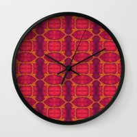 ashton irwin Wall Clocks featuring Marburg virus tapestry- by Alhan Irwin by Microbioart