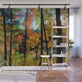 Walden Pond Autumn Forest  in Concord Massachusetts Wall Mural