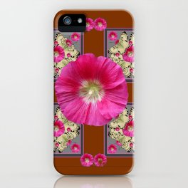 COFFEE BROWN CERISE HOLLYHOCKS BUTTERFLY DESIGN iPhone Case