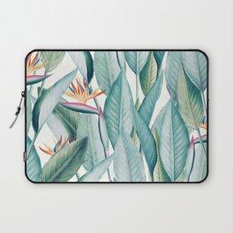 Back to Paradise Island, Bird of Paradise Floral Illustration, Vintage Botanical Nature Painting Laptop Sleeve