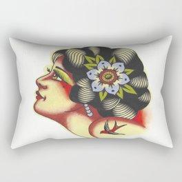Traditional Girl Head Tattoo Flash Rectangular Pillow