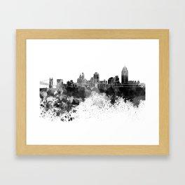 Cincinnati skyline in black watercolor Framed Art Print