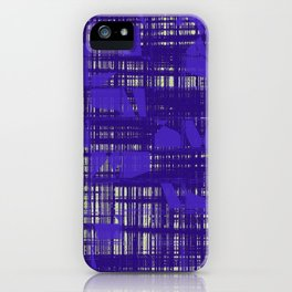Blue random shapes hovering all over the blue messy lines above white background iPhone Case