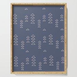 Modern Minimalist Triangle Pattern in Slate Blue Serving Tray