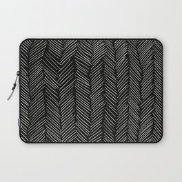 Herringbone Cream on Black Laptop Sleeve