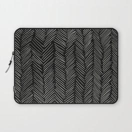 Herringbone Cream on Black Laptop Sleeve