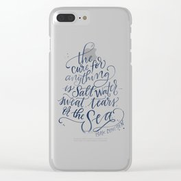 The Cure for Anything is Salt Water - Navy Watercolor Clear iPhone Case