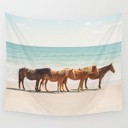Summer Beach Horses Wall Tapestry
