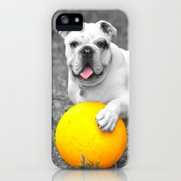 English bulldog white and the yellow ball iPhone Case